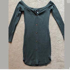 Windsor Green Ribbed Off Shoulder Button Dress M